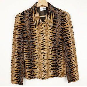 Joseph Ribkoff Tiger Stripe Jacket S Black Tan